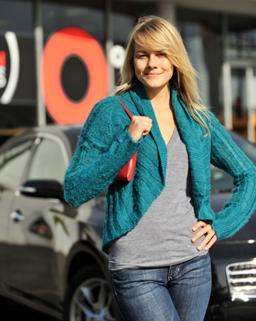 Confident woman buying a car