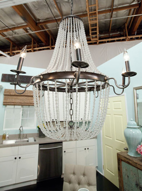 Design Star season 7: chandelier in kitchen