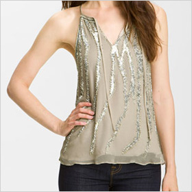 Parker Embellished Tie Neck Tank 