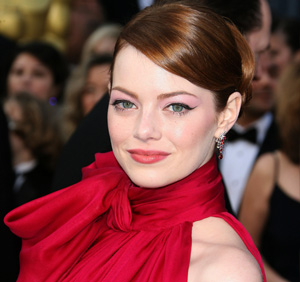 Emma Stone wearing red dress