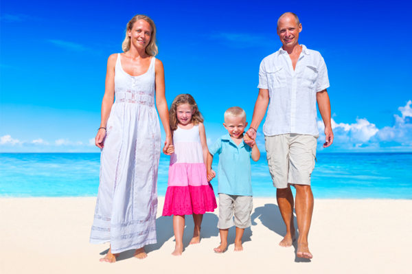 Fashionable family on beach