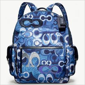 Coach Poppy Denim Print Backpack