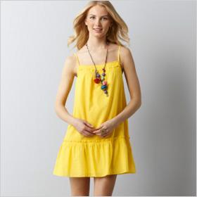 Fringed Ruffle Neck Trapeze Dress from Loft