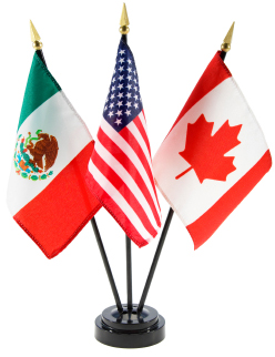 Mexican, American, Canadian flags