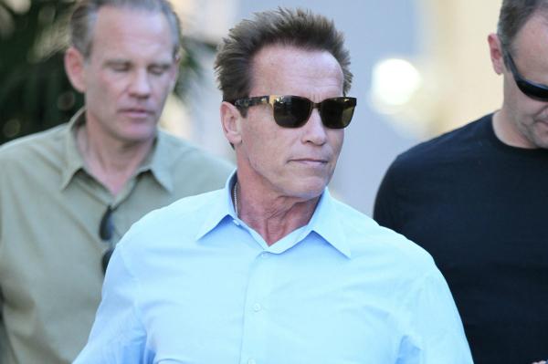 Arnold Schwarzenegger with Bodyguards