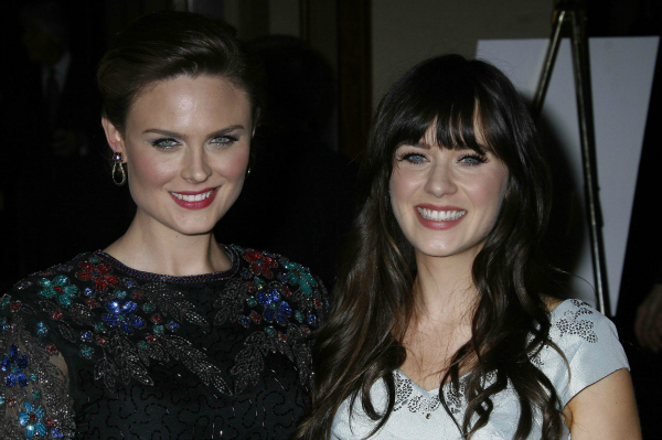 Emily and Zooey Deschanel in Century City, California