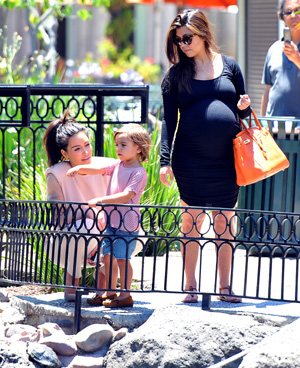 Pregnant Kourtney Kardashian, Kim Kardashian and Mason