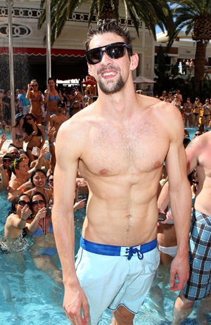 Michael Phelps relaxing at pool