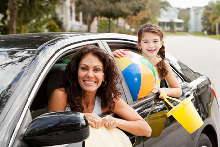 Mom in car with daughter