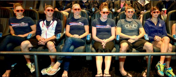 Olympic swimmers watch Finding Nemo 3D