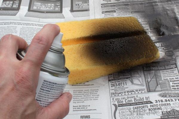 Cartões postais Bolo Passo 3: pintar a esponja