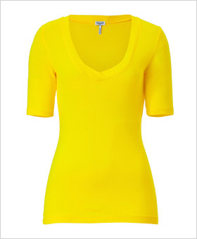 bright yellow V-neck tee