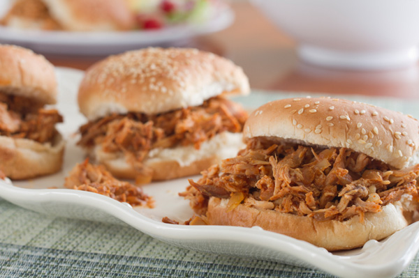 Slow cooker sandwiches: Barbecued shredded chicken sandwiches