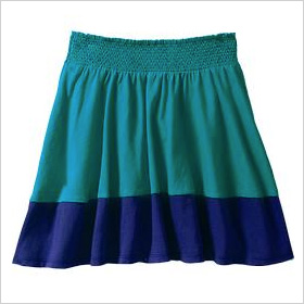 color-blocked jersey skirts
