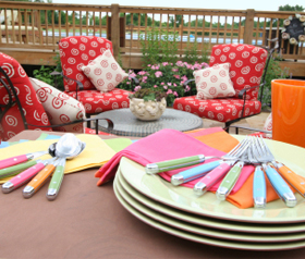 Summer patio with outdoor dishes