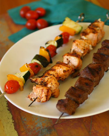 Sunday Dinner: Land, sea, and veggie kabobs