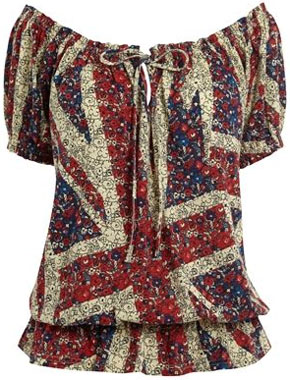 Union Jack bumble hem top