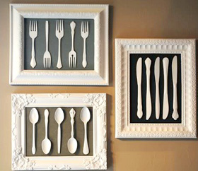 Framed utensil artwork