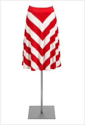 Candy-striped A-line skirt