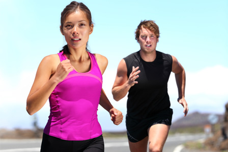 Woman running with partner