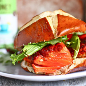 Sweet and spicy glazed salmon sandwiches