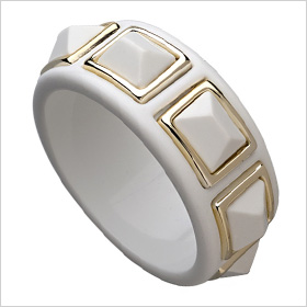 white and gold Kenneth Jay Lane statement cuff