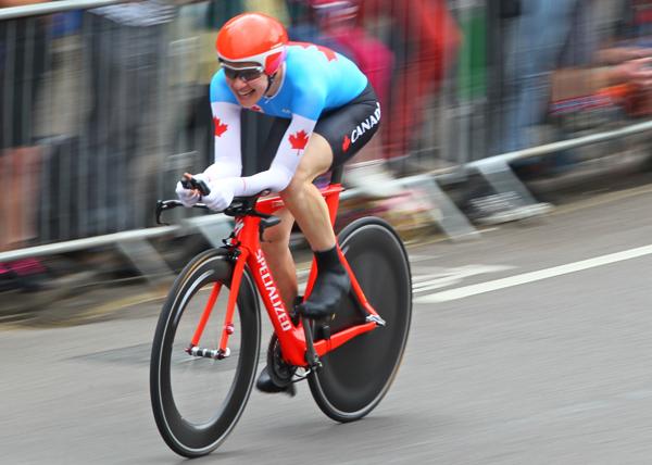 Clara Hughes cycling at the London 2012 Olympics