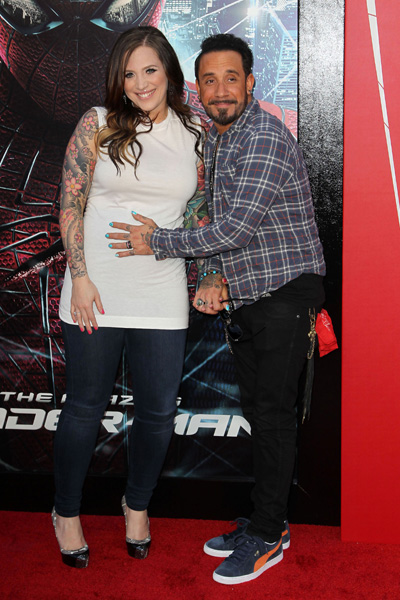 A.J. McLean and pregnant wife Rochelle Karidis