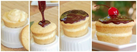 Boston cream cupcake progression