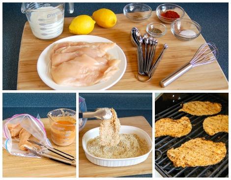 grilled breaded chicken sandwich prep collage