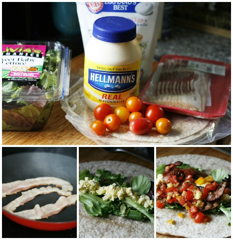 egg salad BLT ingredients and step by step collage