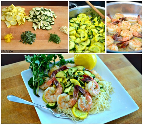 GARLIC LEMON PRAWNS AND SUMMER SQUASH CAPELLINI