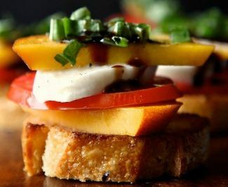 Peach Tomato and mozzarella crostini