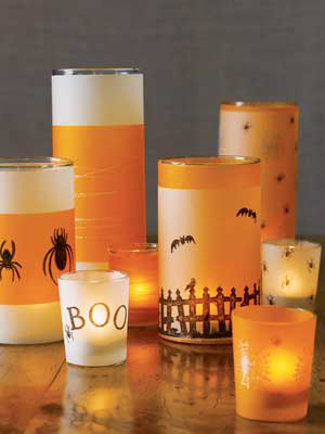 Spooky glass votives