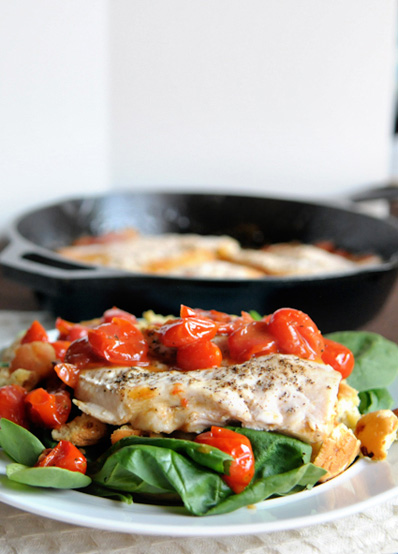 Garden cherry tomato and chicken one-skillet dinner