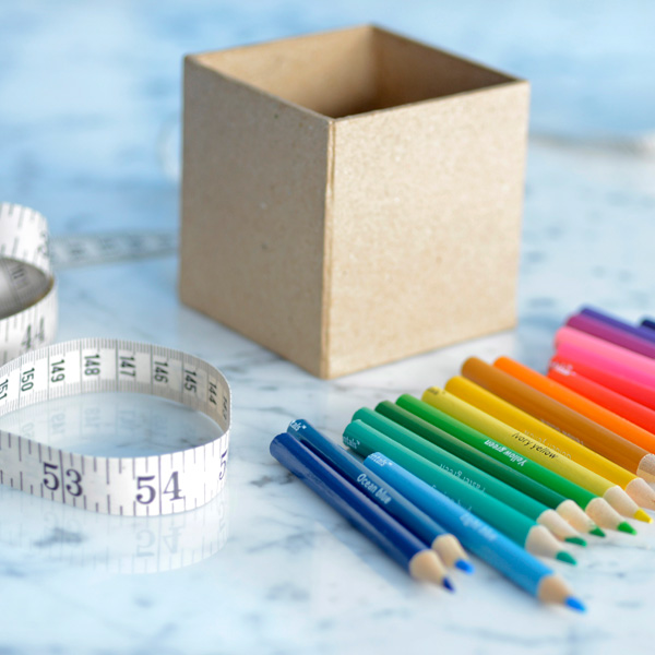 DIY colored pencil favor boxes