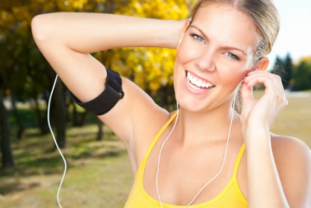 Listening to music while working out