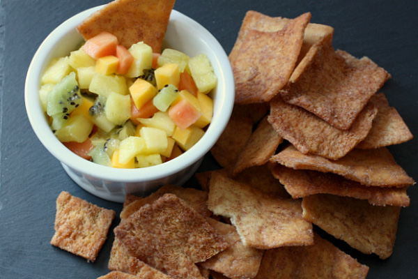 Fruit salsa with homemade pita chips