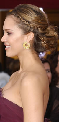 Jessica Alba's braided updo hairstyle at the Oscars