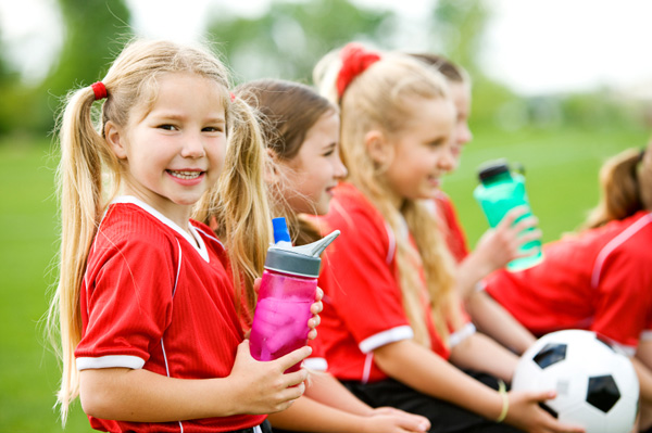 Little girl on soccer team