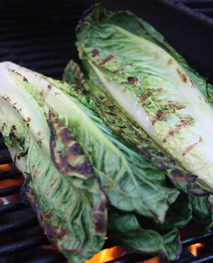 Lettuce on grill