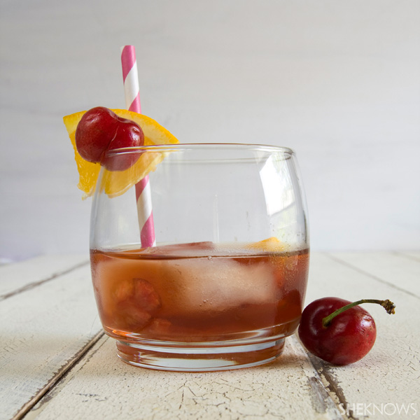 Cherry infused bourbon old fashioned cocktail