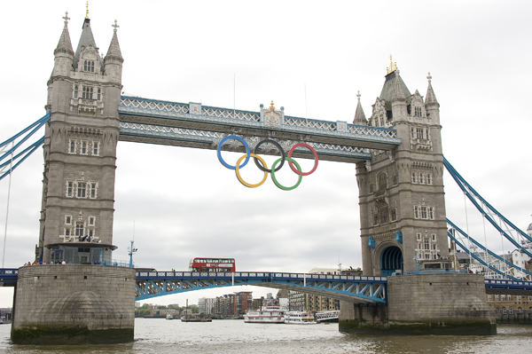 Olympic rings at the Tower Bridge