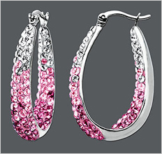 Kaleidoscope Sterling Silver Earrings, Pink and White Crystal Hoop Earrings with Swarovski Elements