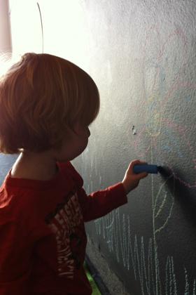 Garage chalk wall