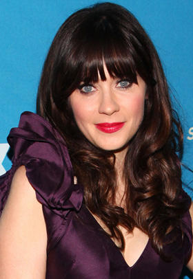 Zoeey Deschanel with blunt blangs