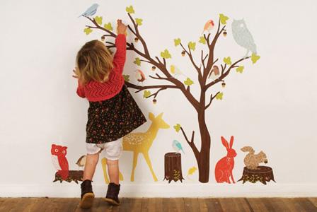 Woodland Scene Retro Fabric Wall Decals