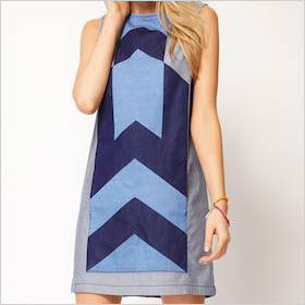 Denim dress with chevron panel