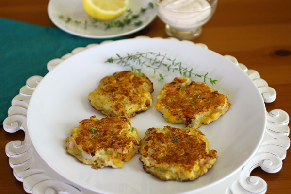 Shrimp and Corn Cakes with Lemon-yogurt Dressing