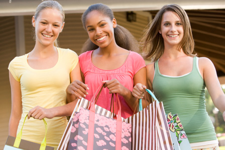 Teen girls shopping